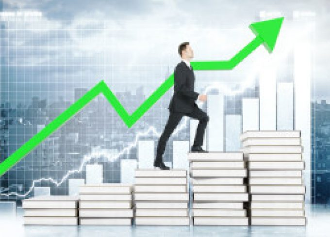 Education concept with businessman climbing book stairway with business chart and green arrow in the background. 3D Rendering